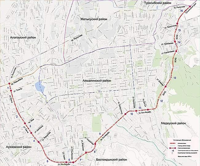 Схема платной автодороги в Алматы