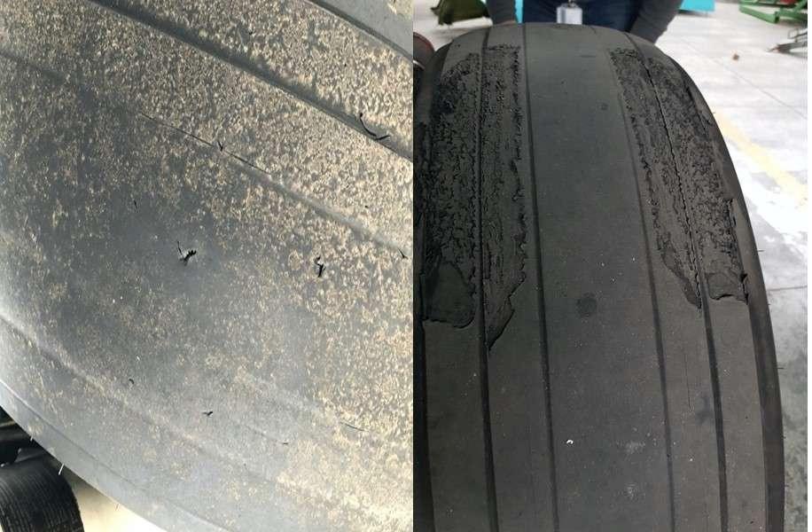 Изношенная резина на колёсах