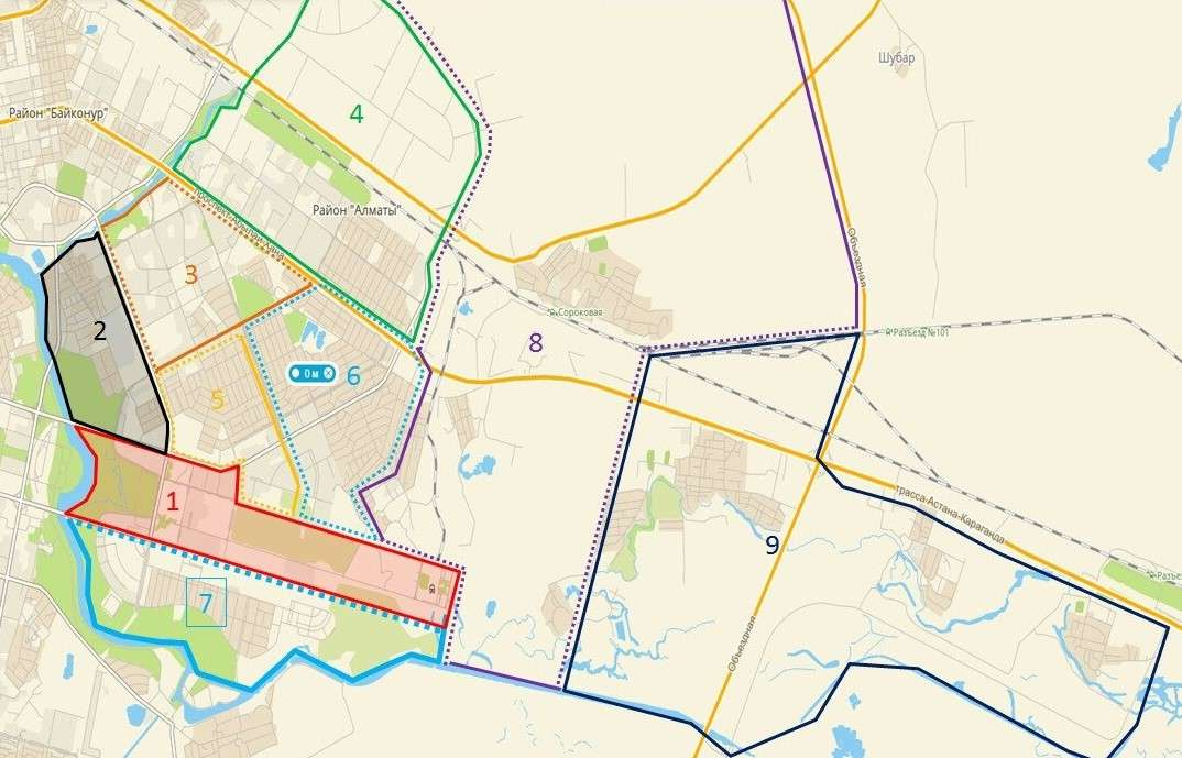 Карта участков, за которые отвечают подрядчики