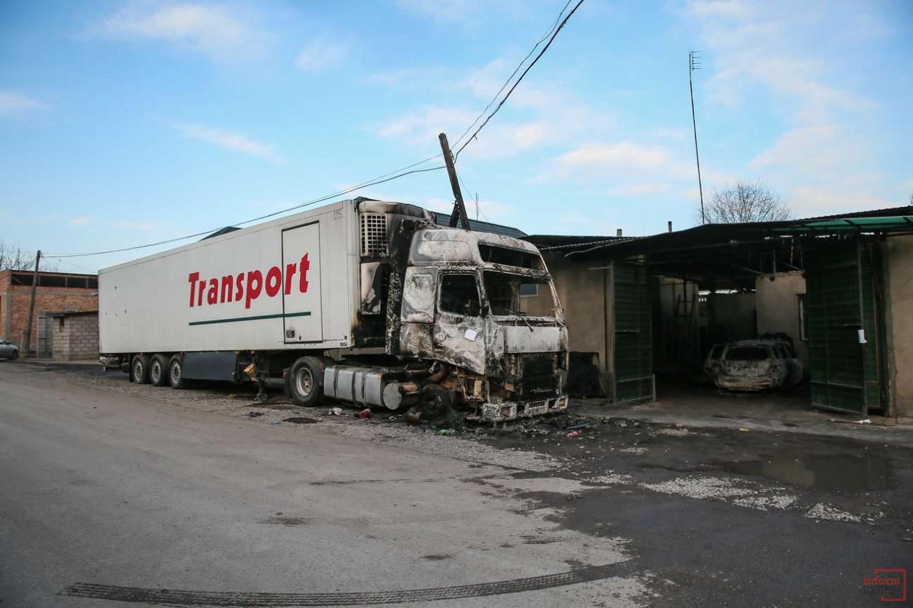Сгоревший грузовк в селе Масанчи