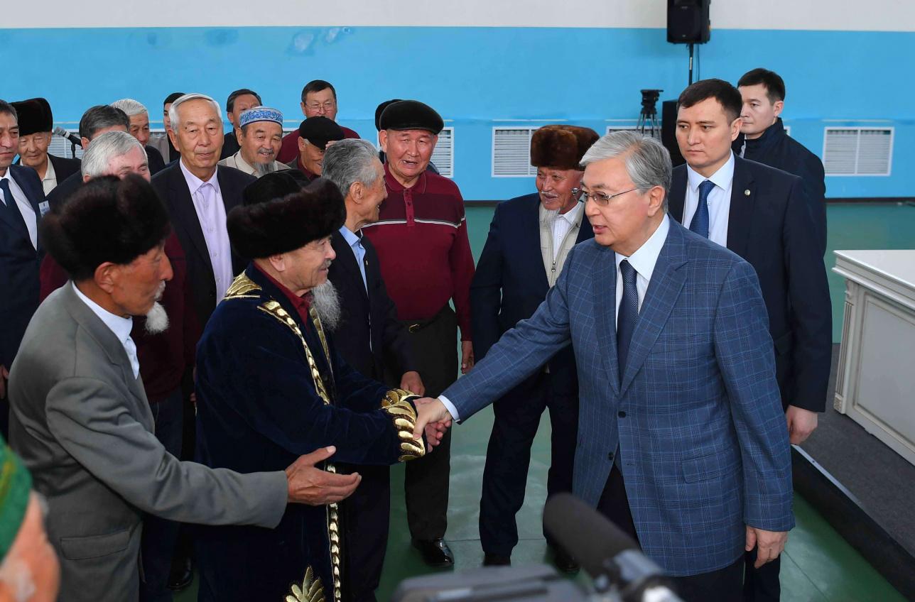 Касым-Жомарт Токаев встретился с жителями села Каракемер Кордайского района Жамбылской области, 1 марта 2020 года
