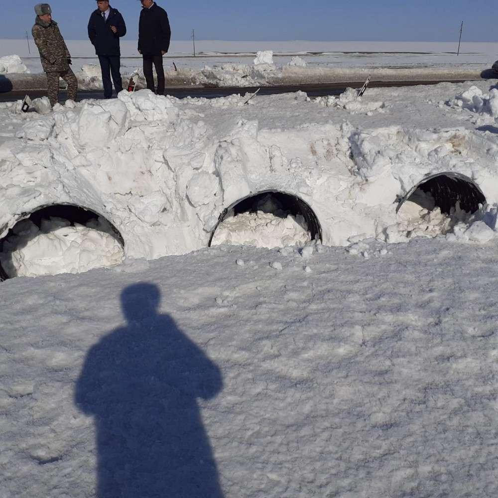 Снег в Айыртауском районе