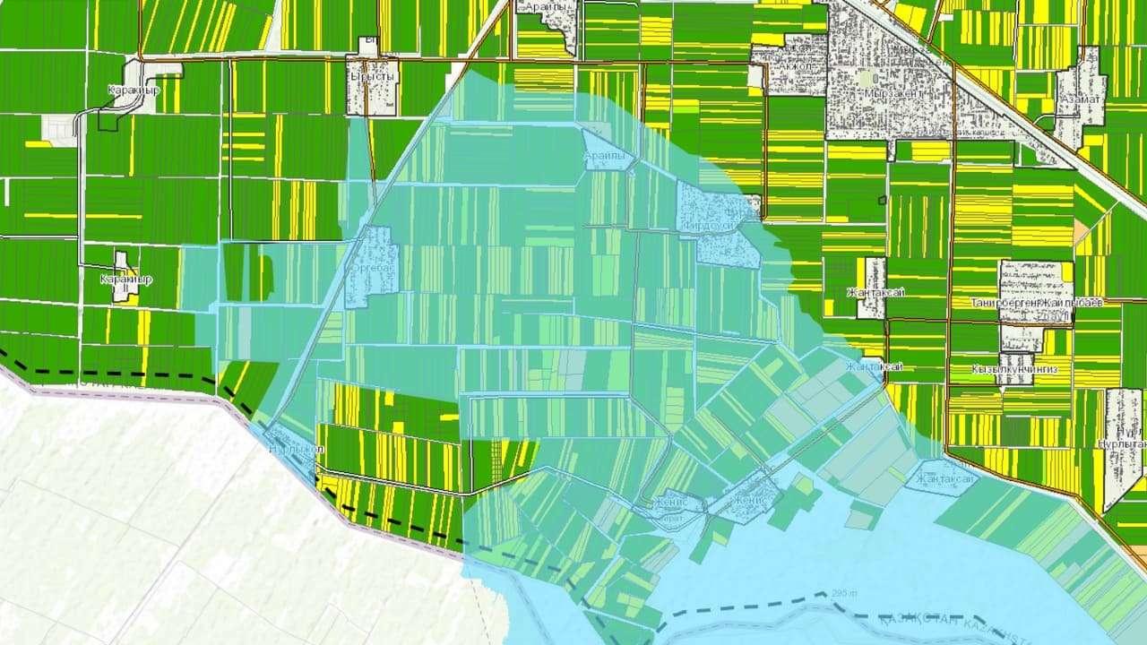 Карта затопленных земель в Туркестанской области