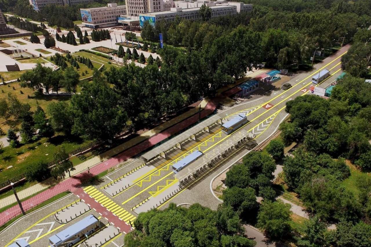 Станция BRT в районе КазНУ имени Аль-Фараби в Алматы