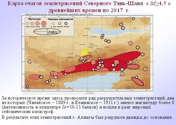 Карта очагов землетрясений