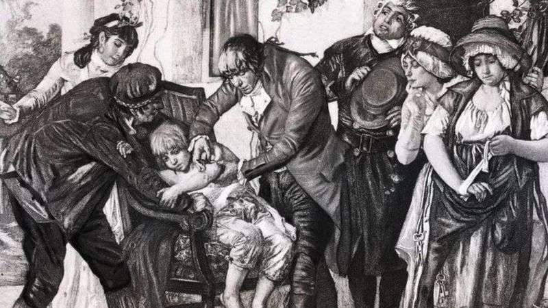 Эдвард Дженнер прививает мальчику неопасный для человека вирус коровьей оспы