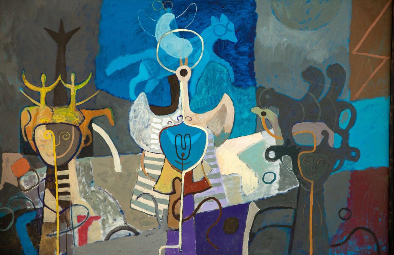 "Картина Сембигали Смагулова ""Три моих покровителя"""