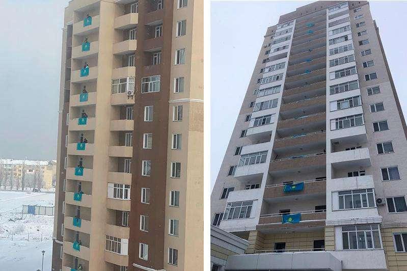 Жители Талдыкоргана вывешивают на своих домах государственные флаги