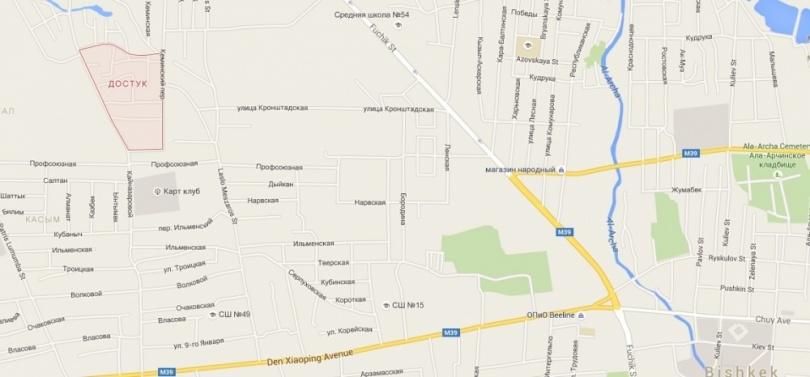 """Красным на карте выделен микрорайон """"Достук"""". Он находится севернее пр. Ден Сяопина и западнее ул. Фучика."""