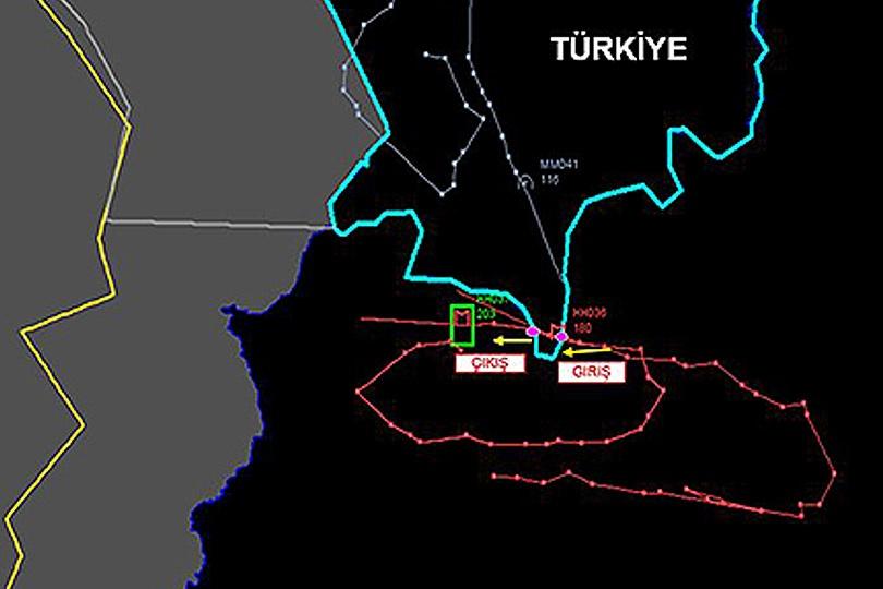 Карта инцидента на турецко-сирийской границе