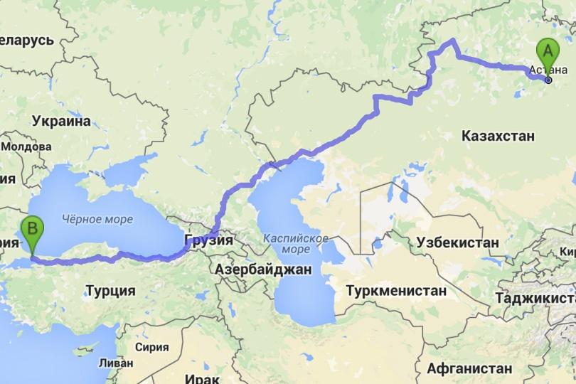 Маршрут из Астаны в Стамбул через Россию составляет 4721 км