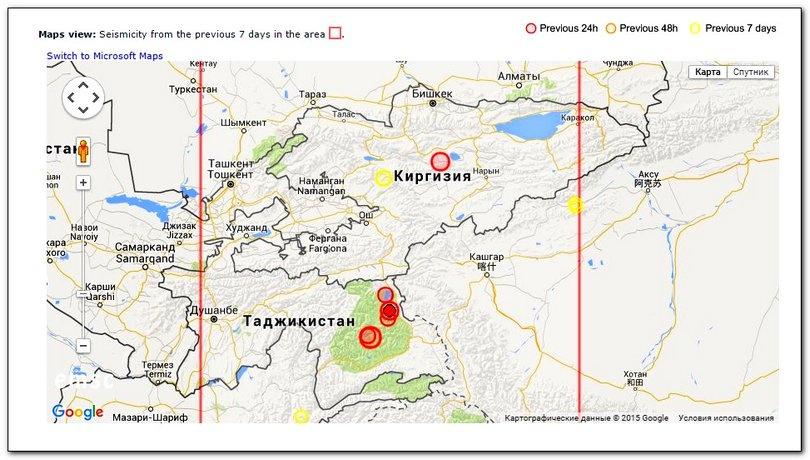 Серия землетрясений в Таджикистане 07.12.2015