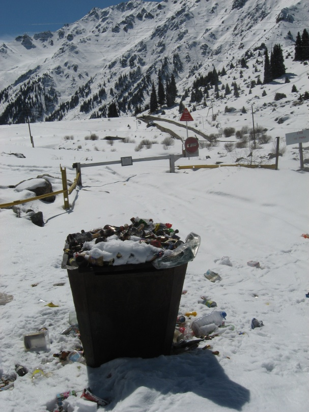Переполненный мусорный контейнер в горах