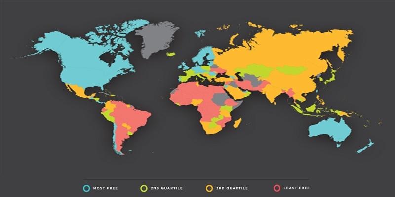 Рейтинг экономической свободы на карте, где голубым цветом обозначены страны с высоким рейтингом, соответственно розовым - с худшей экономикой в мире