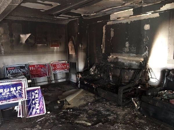 Мебель сгорела в результате поджога офиса республиканцев
