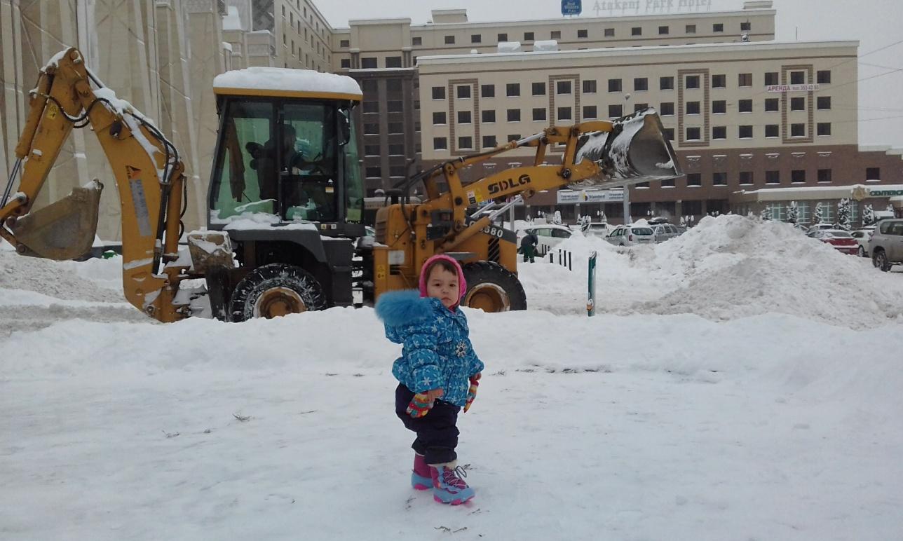 Без лопаты снег убирать не стали, зато посмотрели, как работают другие