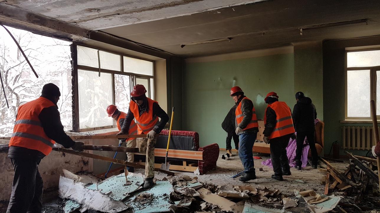 В здании начались ремонтные работы