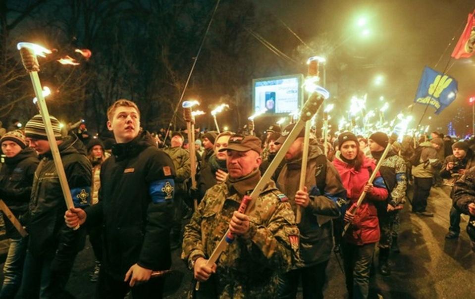 Факельное шествие ко дню рождения Бандеры в Киеве