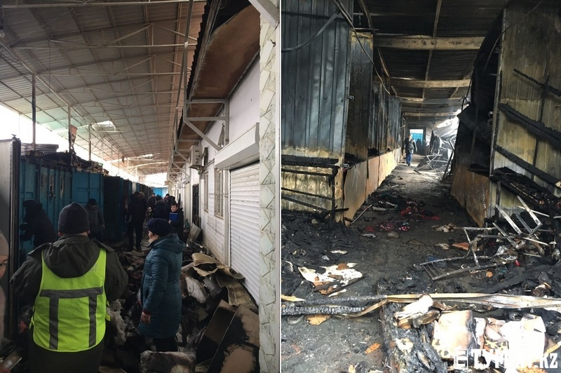 В результате пожара сгорели 18 контейнеров и 184 прилавка