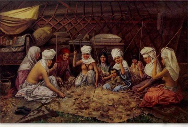 """Картина """"Женщины-казашки бьют шерсть"""""""