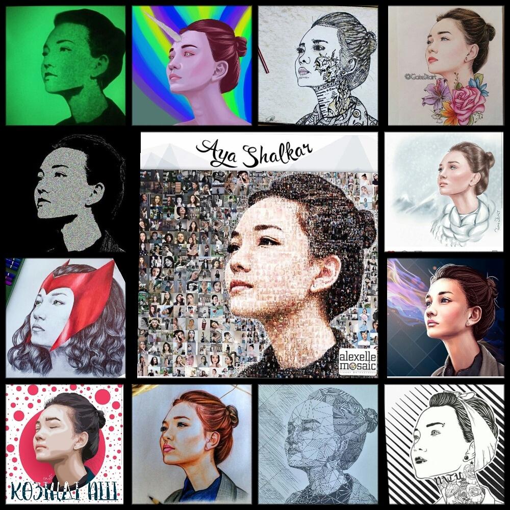 Коллаж из портретов в разных стилях