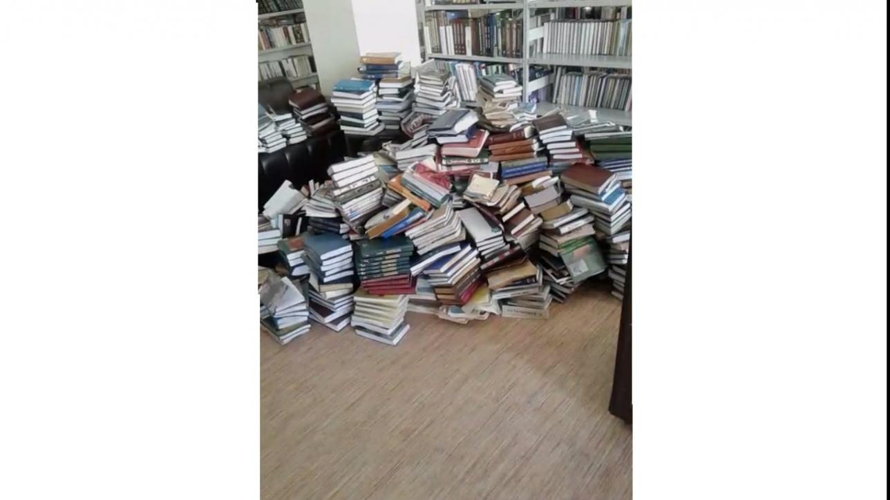Промокшие книги в павлодарской библиотеке