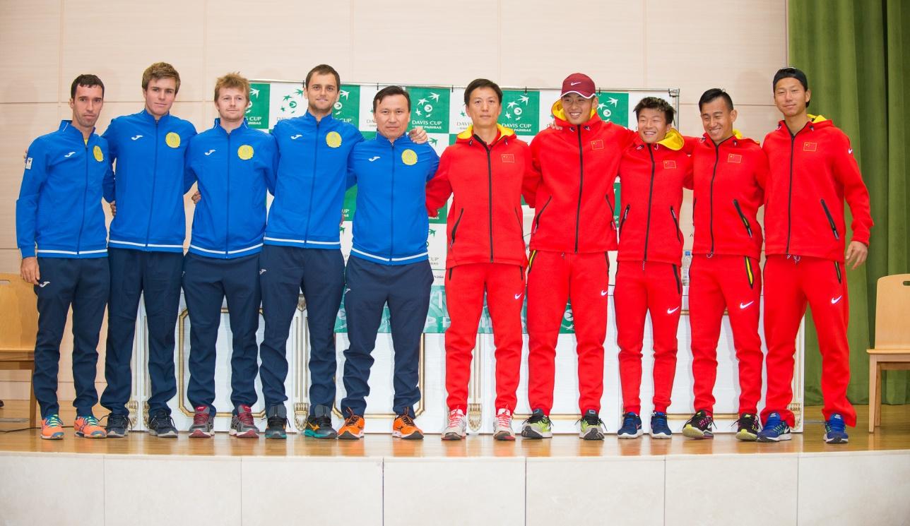 Теннисисты Казахстана и Китая на жеребьёвке