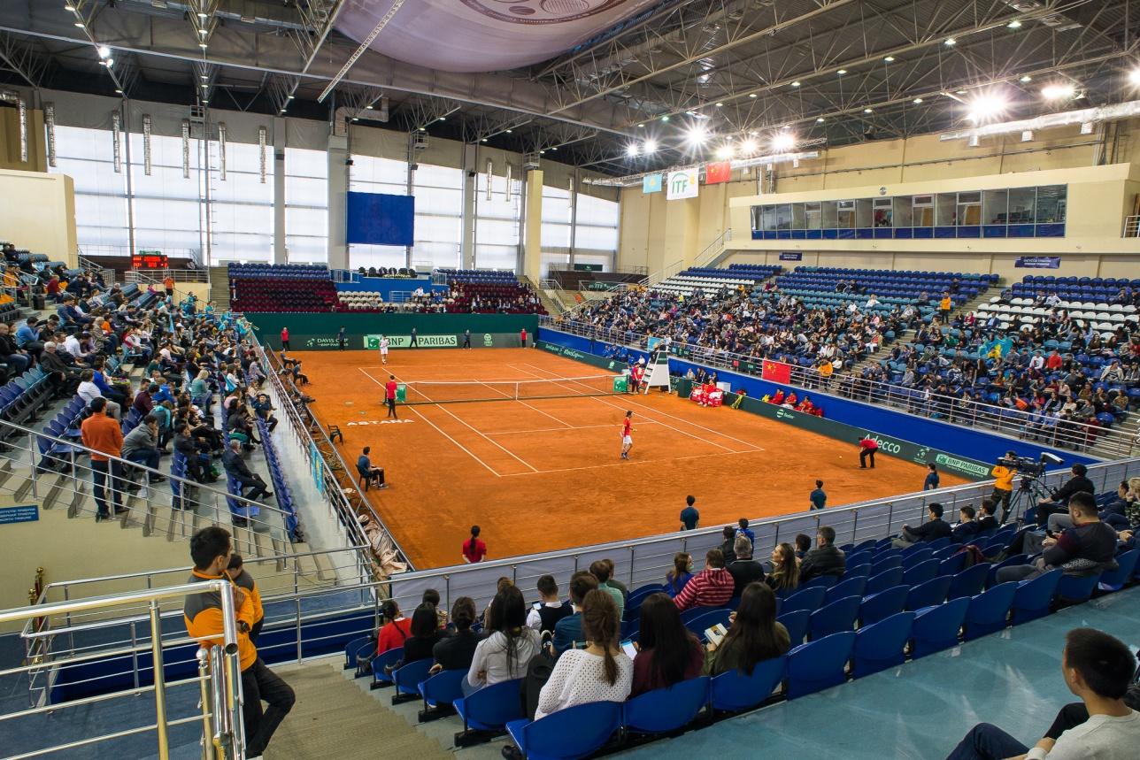 Пятиматчевый поединок между Казахстаном и Китаем прошёл в Национальном теннисном центре