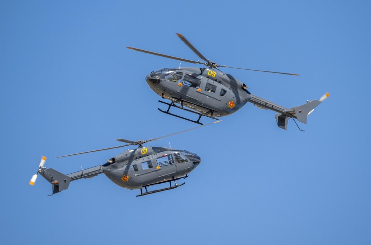 Военно-транспортный вертолёт Eurocopter EC 14 ВВС Казахстана на выставке KADEX-2016