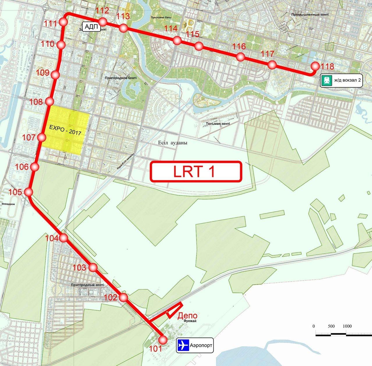 Первая линия LRT в Астане