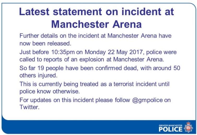 Заявление полиции Манчестера