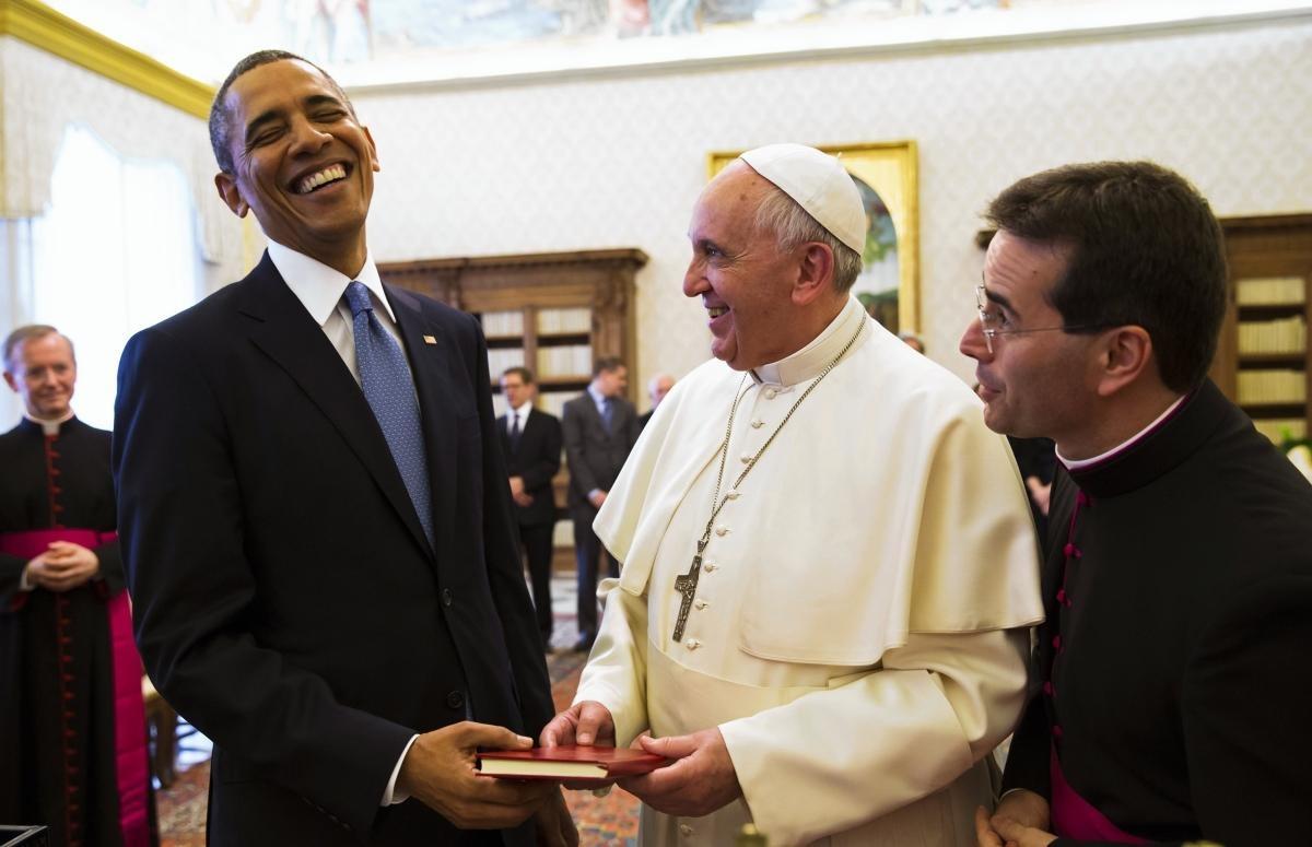 На встрече с Обамой настроение и пнтифика было намного лучше