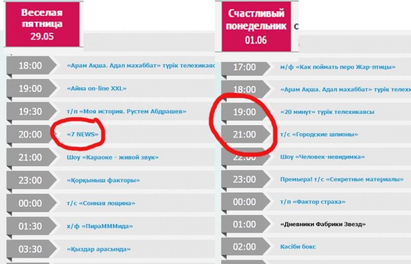 """В телепрограмме на понедельник 1 июня передачи """"7news"""" уже нет в сетке вещания """"Седьмого канала"""""""
