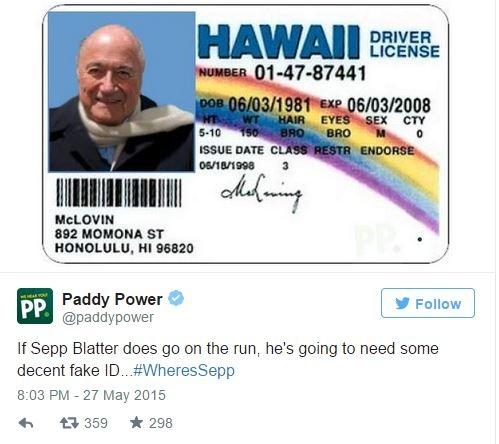 """""""Если Зепп Блаттер пустится в бегство, ему понадобится приличное поддельное удостоверение"""""""
