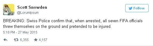 """""""ОПЕРАТИВНАЯ ИНФОРМАЦИЯ: Полиция Швйцарии только что подтвердила, что во время ареста все семь чиновников ФИФА упали на землю и стали симулировать травму"""""""