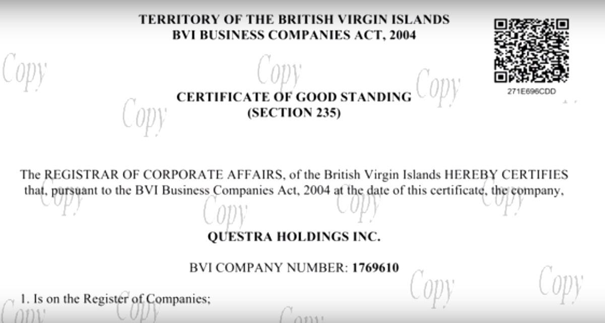 Questra Holdings Inc. Виргин аралдарында тіркелгенін растайтын құжат көшірмесі