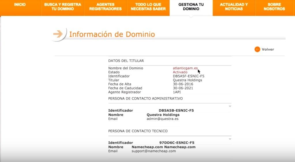 AGAM ресми сайтының домені Испанияда тіркелген