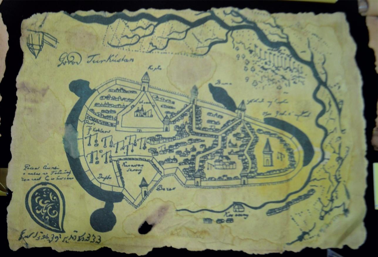 Тәуке ханның мөрі басылған Түркістан қаласының сызбасы. 1743 жылғы құжаттардан алынған