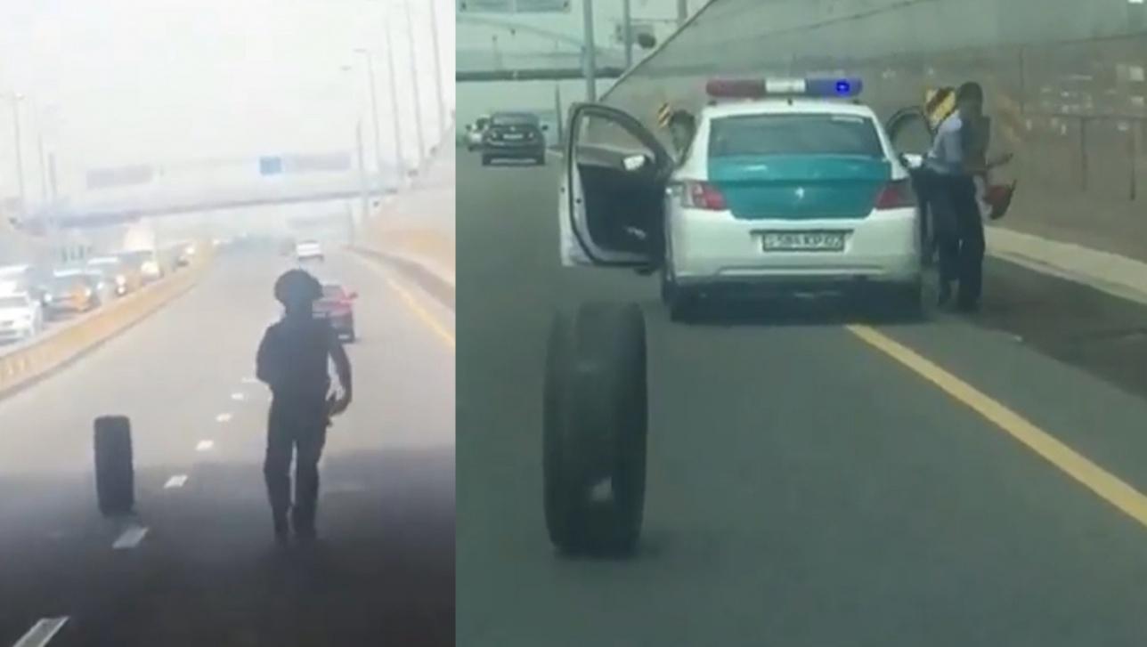 Погоня за шиной рассмешила пользователей сети