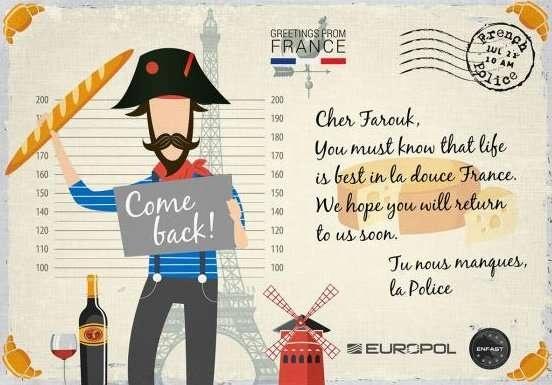 Франция. Карточка для розыска Фарука Хаши, обвиняемого в участии в организованном вооружённом ограблении в 2001 году. Жил на севере Франции, а также в Бельгии и Нидерландах