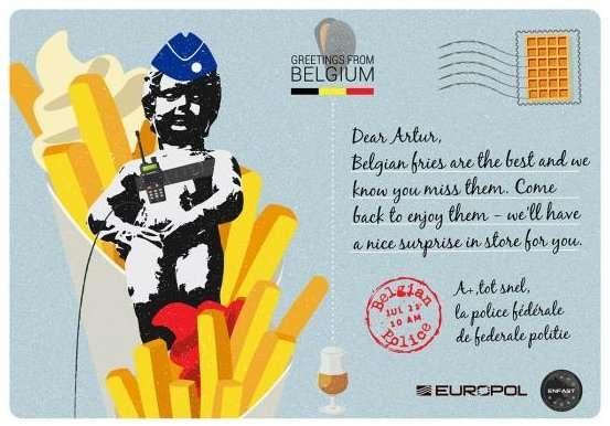 Бельгия. Карточка для розыска Артура Навроки, обвиняемого за руководство преступной организацией, занимавшейся международным оборотом наркотиков. В 2014 году Навроки удалось скрыться от сотрудников правоохранительных органов, с тех пор он находится в бегах