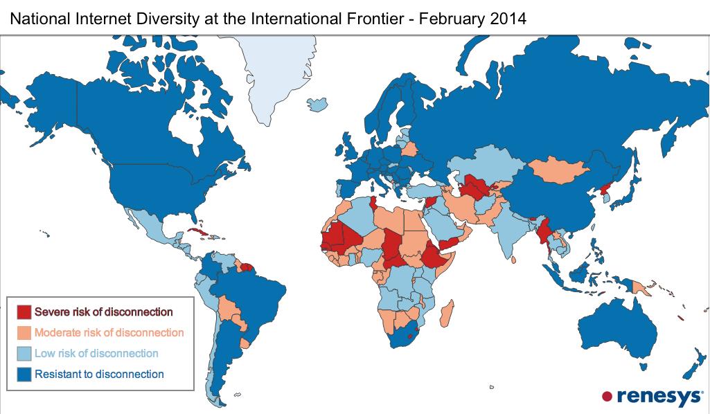 Какие страны можно легко отключить от Интернета из-за особенностей сетевой инфраструктуры