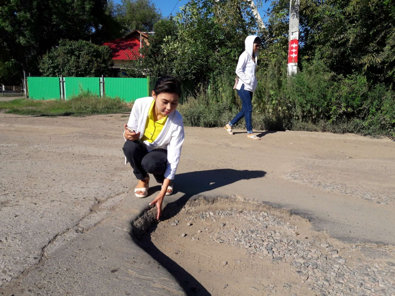 Трещины на дорогах Уральска