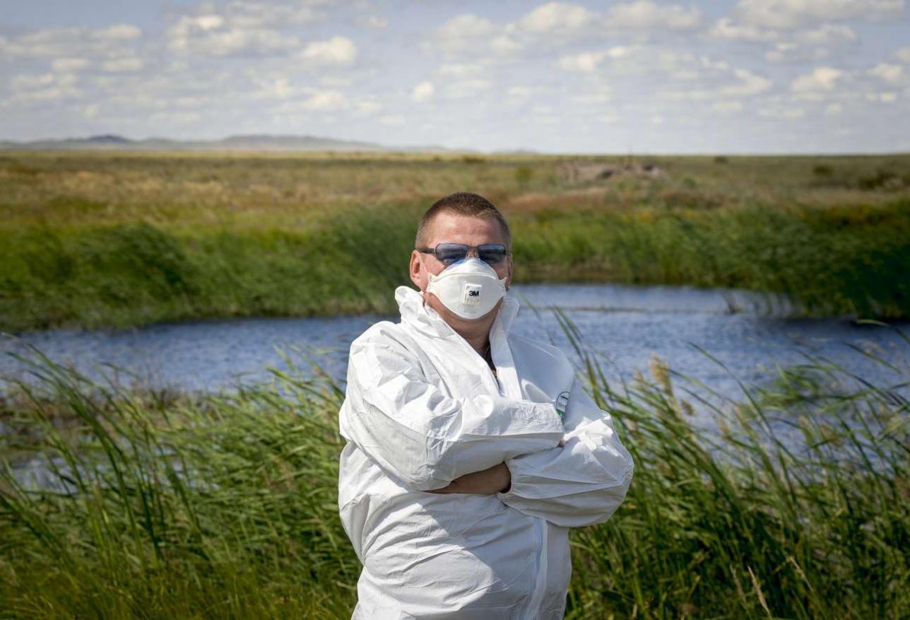 Автор на месте подрыва первой советской атомной бомбы РСД-1