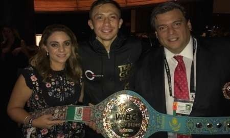 Геннадий Головкин на церемонии вручения специального пояса WBC