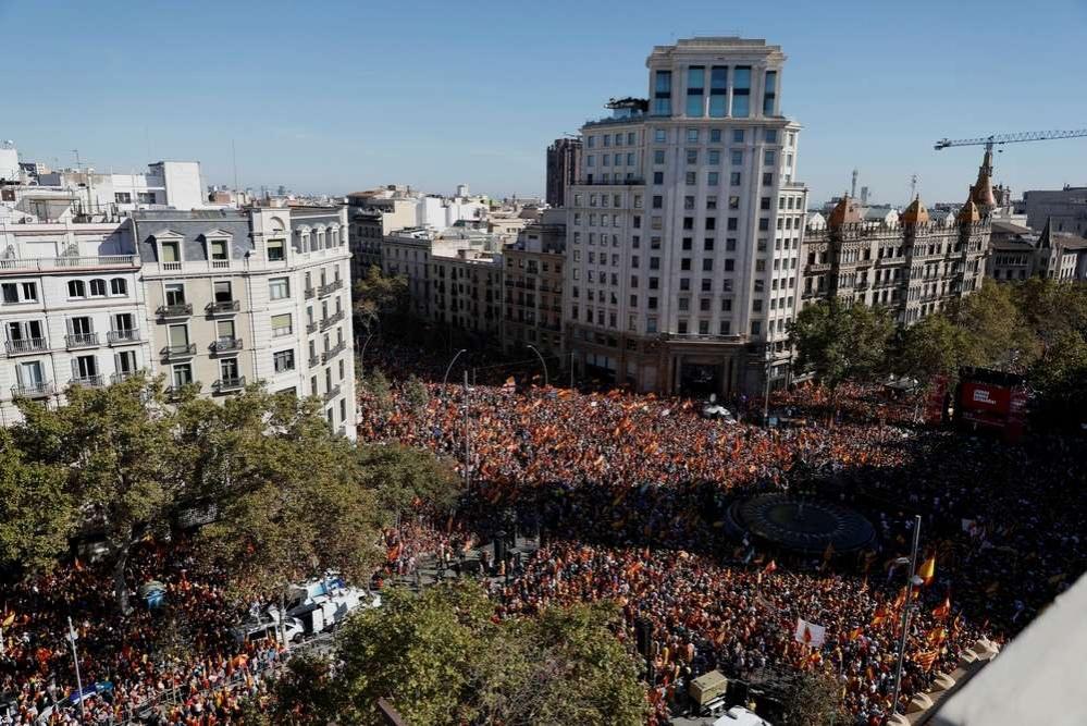 Митинг прошёл на пересечении крупнейших проспектов Барселоны Пассаж де Грасиа и Гран-виа