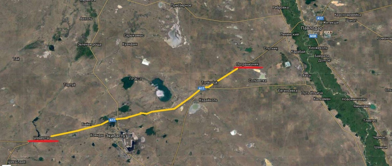 Астана-Павлодар тас жолында Шідертіден бастап Пограничник кентіне дейін жол жаман