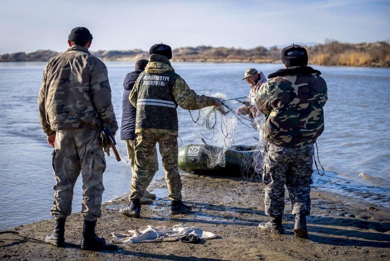 Инспекторы извлекают незаконные орудия лова из воды
