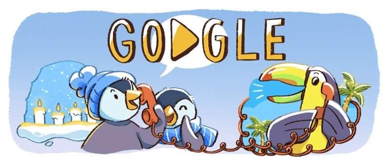 """Дудлы """"Праздники близко рассказывают о новогодних приключениях пингвинов"""