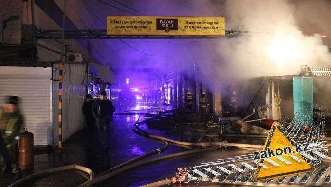 Пожар на рынке в Алматы